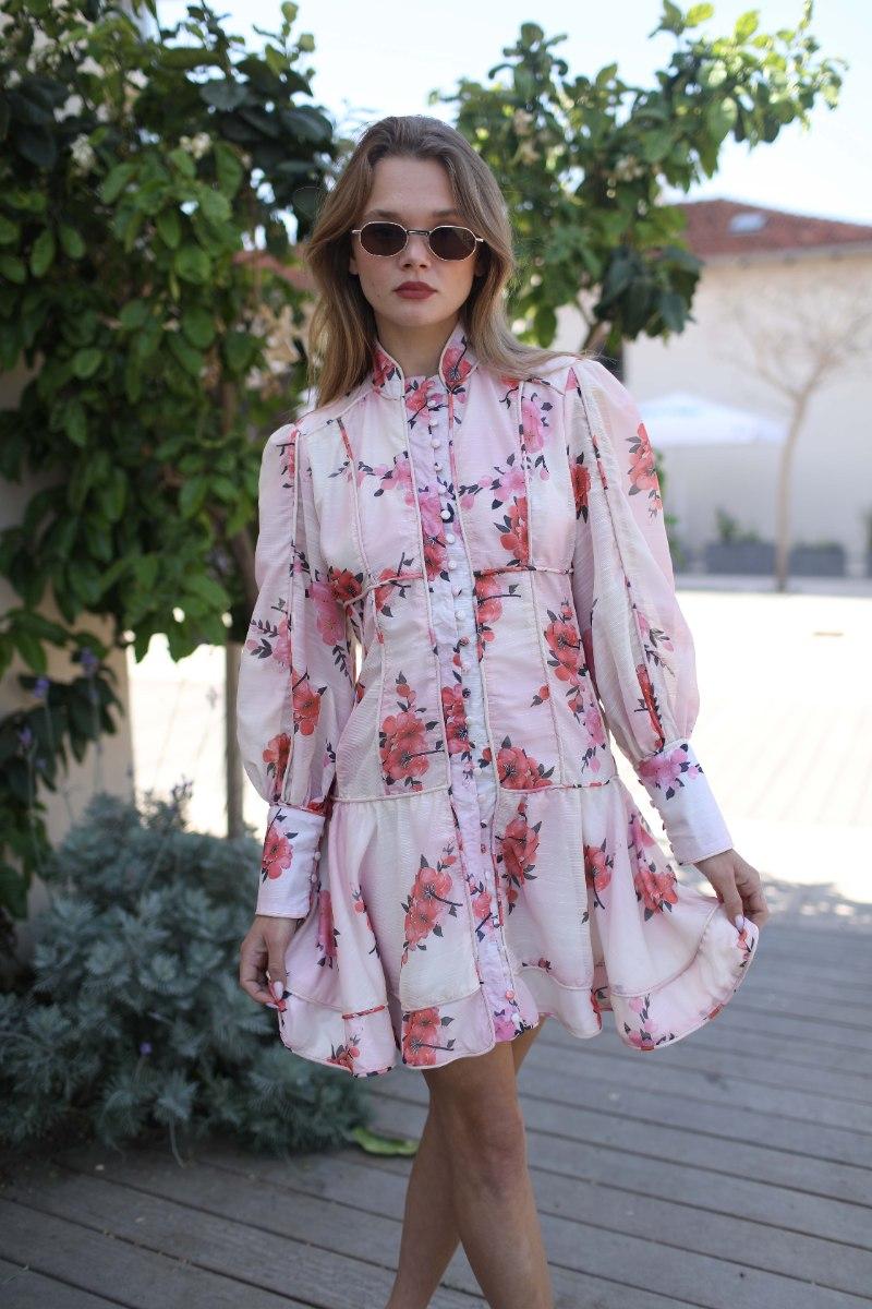 שמלה קצרה נועה פרחים ורוד