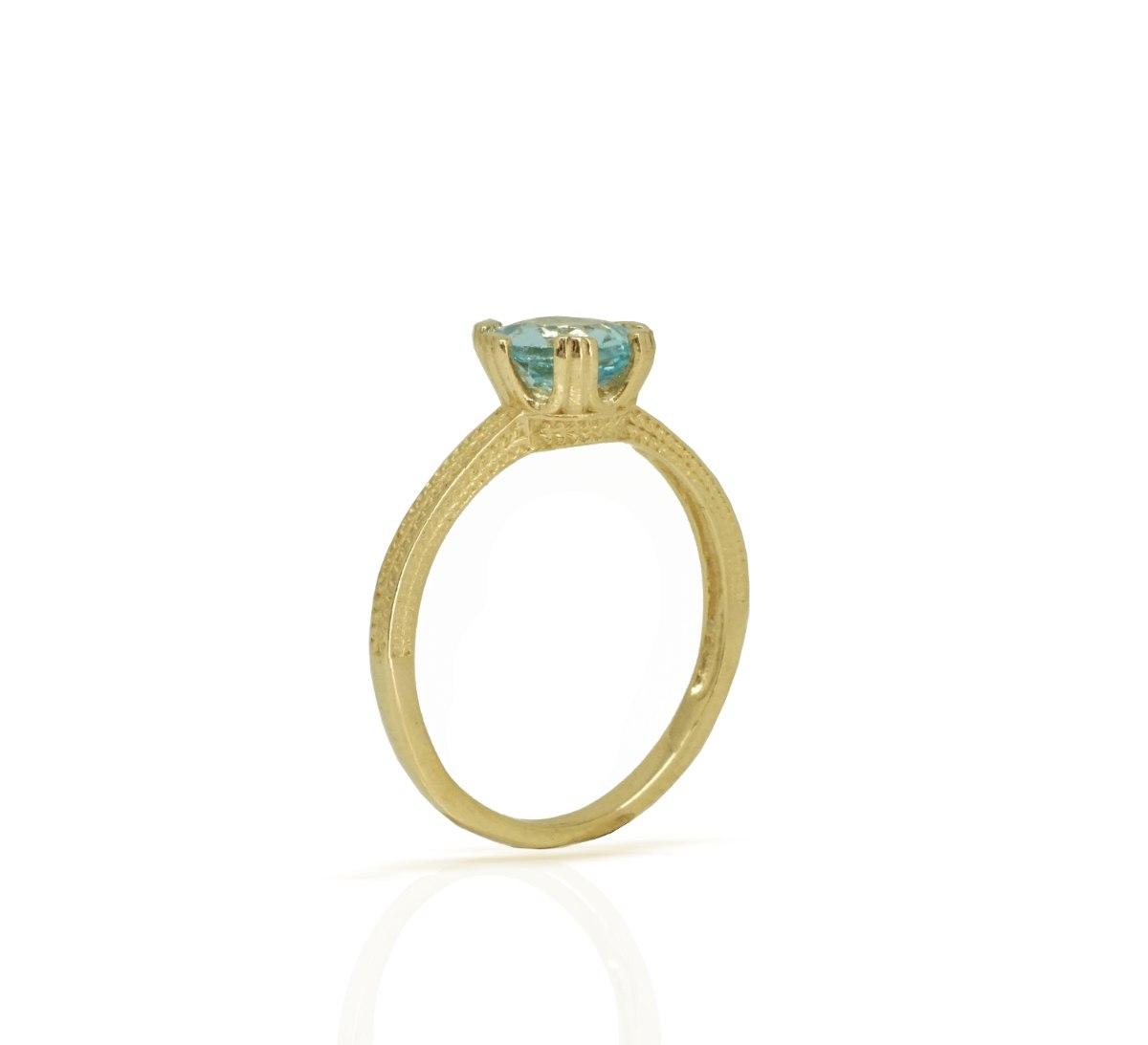 טבעת בלו טופז כתר
