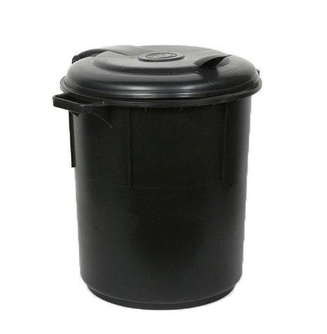 מיכל אשפה 60 ליטר עם מכסה צמוד - פלסטיק בצבע שחור