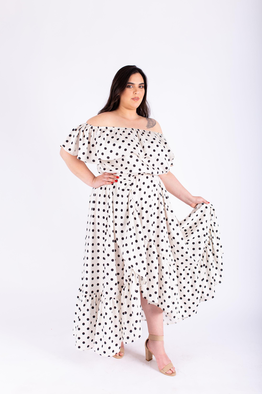 שמלת אנה נקודות שחור לבן