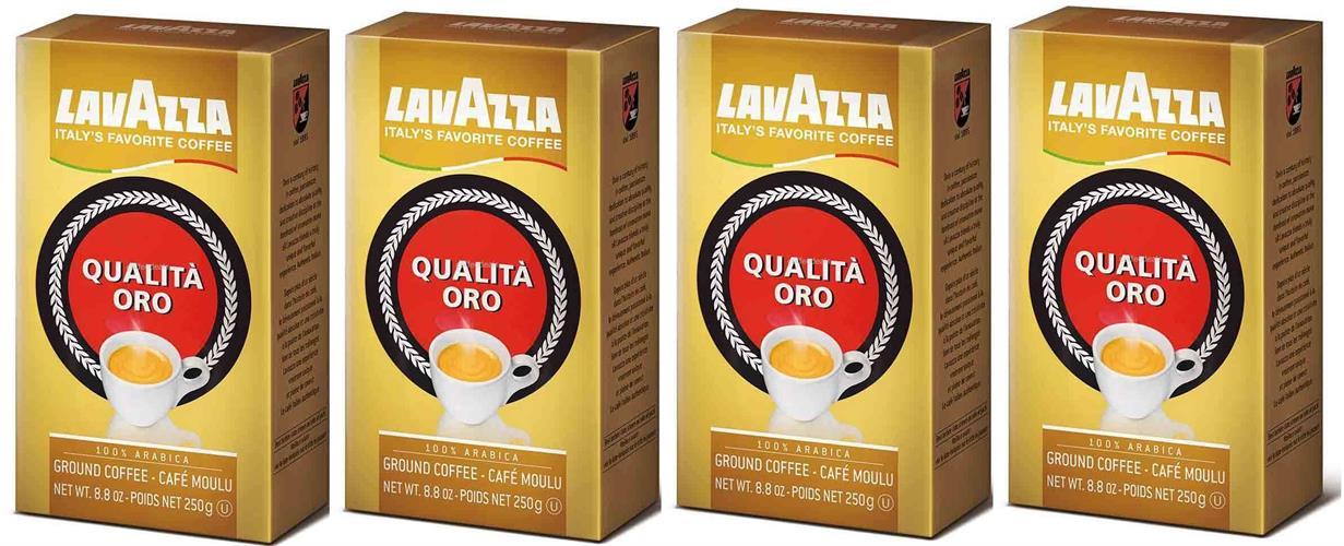4 אריזות 250 גרם Lavazza Qualità Oro קפה טחון
