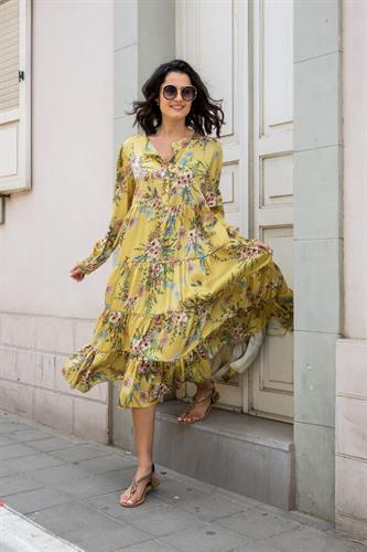 שמלה מקסי שילוב פרחים