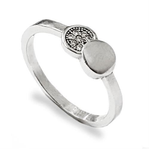 טבעת כסף עיגול חלק ועיגול משובץ אבני זרקון RG5561 | תכשיטי כסף | טבעות כסף