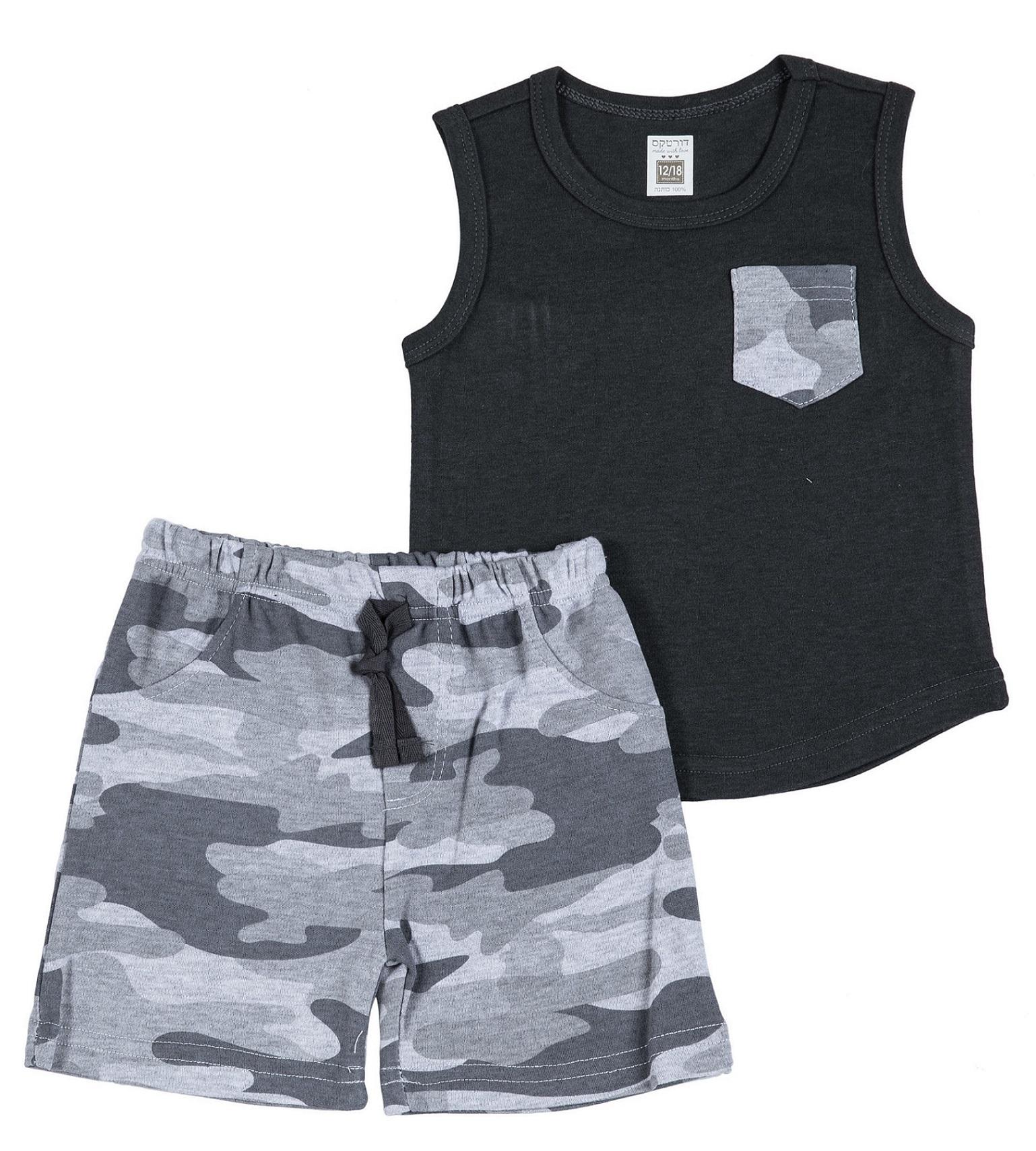 חליפה קצרה גופייה וכיס צבאי שחור
