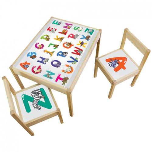 3 יח' טפט דביק מותאם לשולחן וכסאות (LATT)- אותיות באנגלית