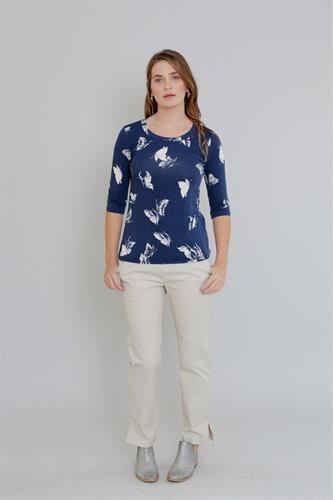 חולצת טריקו בהדפס פרפרים