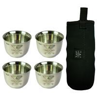 4 כוסות נירוסטה דופן כפולה 85 מל + שרוול