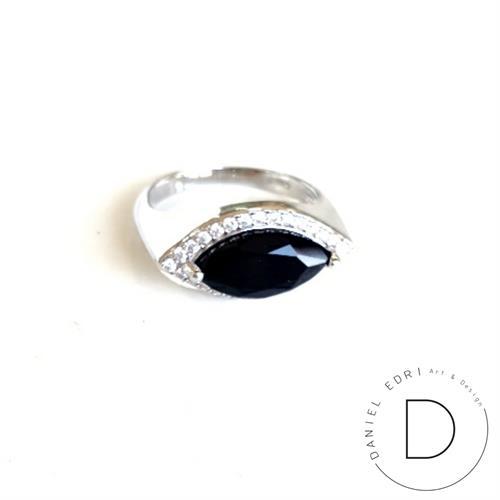 טבעת מרקיזה כסף 925- שחור