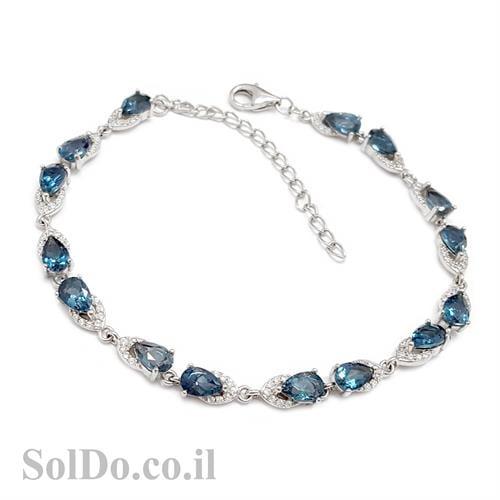 צמיד כסף משובץ אבני טופז כחולות  Z3052