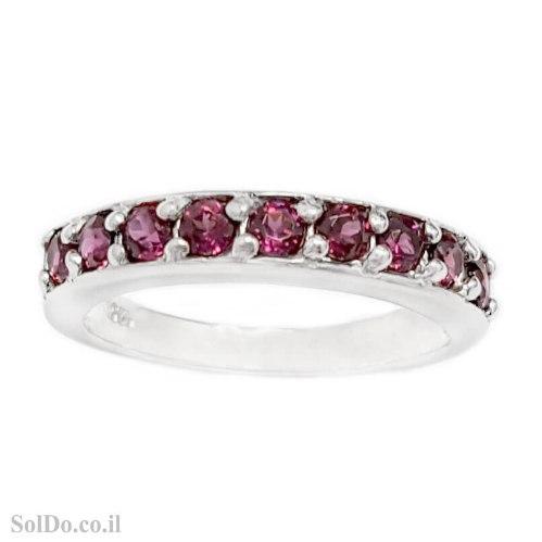 טבעת מכסף משובצת אבני גרנט  RG6186 | תכשיטי כסף 925 | טבעות כסף