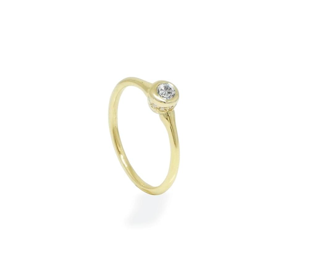 טבעת יהלומים 0.35 קראט יהלומים בזהב 14K