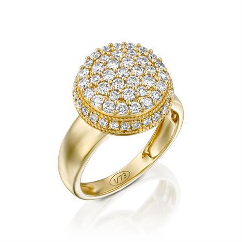 טבעת אצולת היהלום משובצת 1 קראט יהלומים בזהב צהוב או לבן