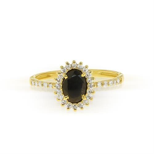 טבעת ספיר ויהלומים דגם 'דיאנה' בזהב 14 קאראט