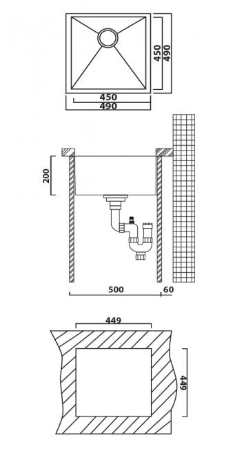 כיור מטבח יחיד תוצרת אולין דגם זירו 49