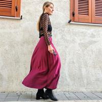 חצאית פליסה בורדו