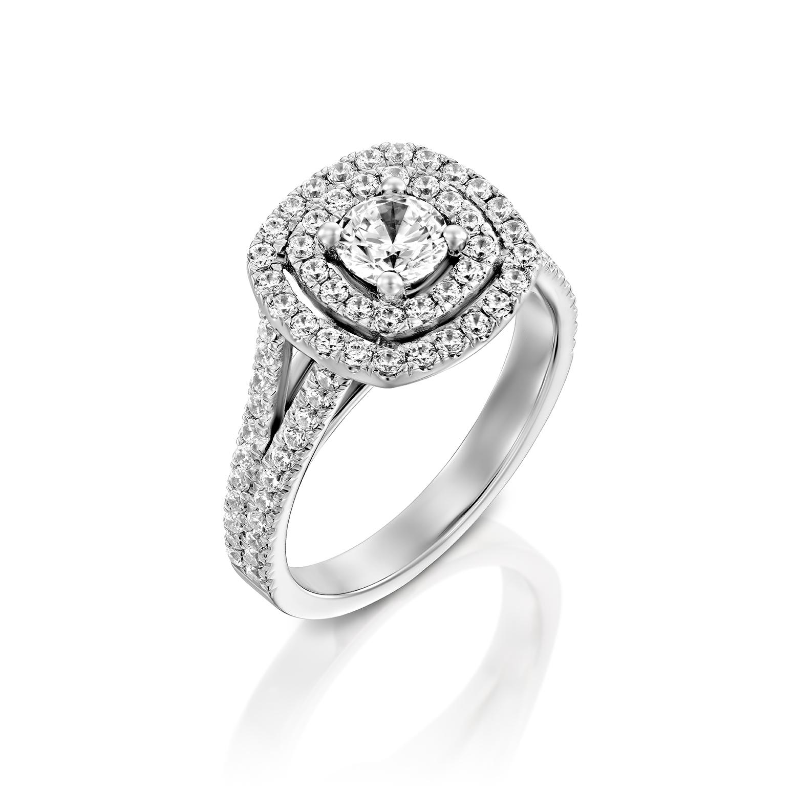 טבעת אירוסין זהב לבן 14 קראט משובצת יהלומים CUSHION DOUBLE HALOW TWO ROWS
