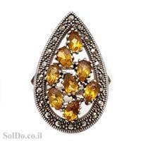 טבעת כסף משובצת אבני סיטריןן ומרקזטים RG1583 | תכשיטי כסף 925 | טבעות כסף