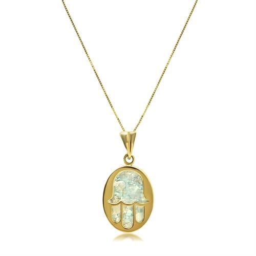 שרשרת זהב תליון חמסה אובל מיוחד עם זכוכית רומית