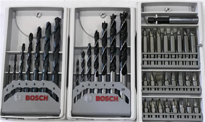 3 סטים של מקדחים HSS, מקדחים לעץ וביטים BOSCH.