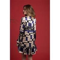 שמלת פלואו משי מודפס