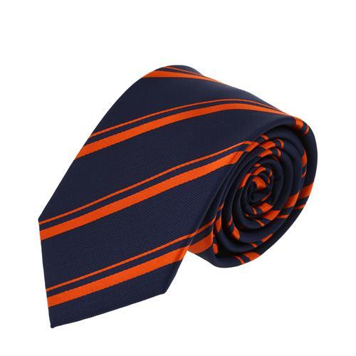 עניבה פסים קלאסית כתום כחול