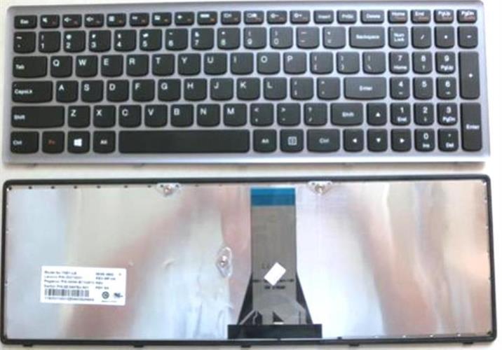 מקלדת להחלפה בנייד לנובו מסגרת כסופה Lenovo IdeaPad Flex 15, S500, G500S ,G505, G505A, G505G, G505S, Z510 black (Silver frame)