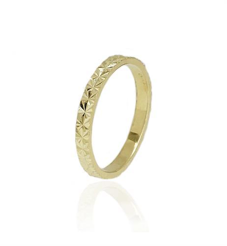 טבעת זהב עם חריטת לייזר │ טבעת נישואין זהב צהוב