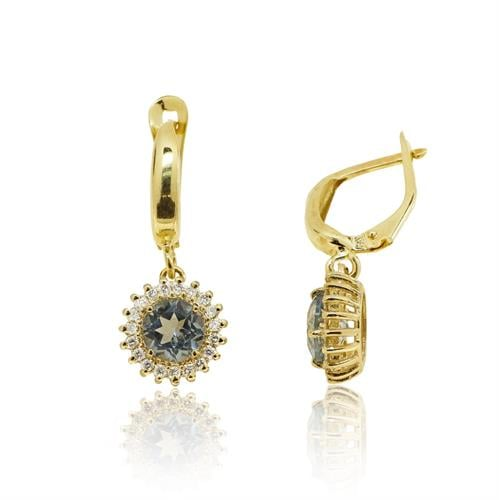 עגילי זהב 14 קרט נתלים משובץ אבן בלו טופז 1.32 ויהלומים 0.30 קראט