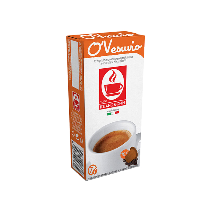 10 קפסולות קפה בוניני Aroma O'Vesuvio תואם נספרסו - חוזק 7