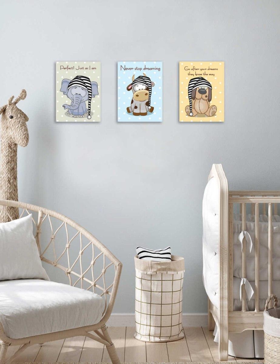 סט 3 תמונות חיות כלב, פיל, פרה לחדר תינוקות ילדים דגם 024