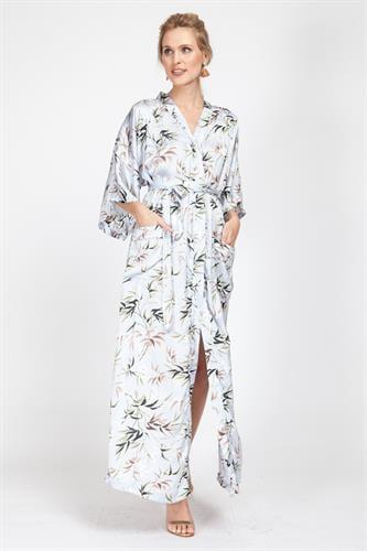 שמלת קימונו לבן פרחוני