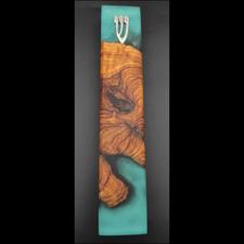 מזוזה עבודת יד עץ בשילוב אפוקסי 1