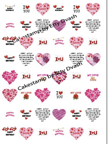 Birthday Hearts Transfer sheet