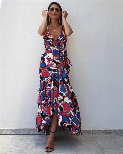 שמלת רוז - פרינט צבעוני