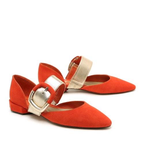 נעל סירה אבזם קדמי מעור איטלקי עיצוב מיוחד ונוח בשילוב צבעים