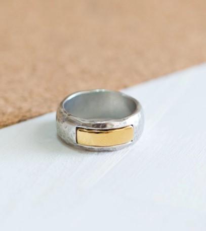 טבעת גברית חותם מלבני