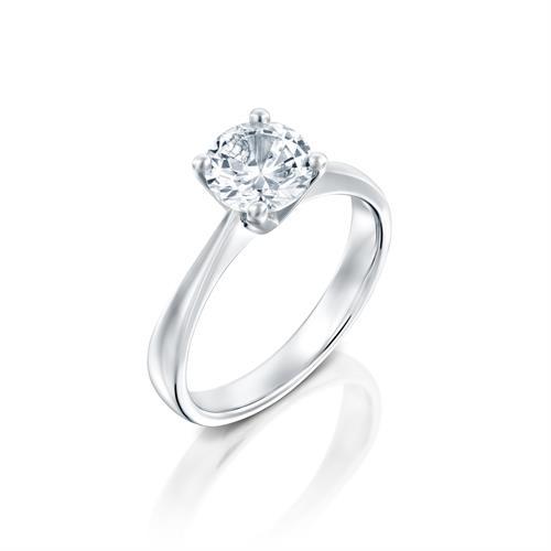 טבעת אירוסין זהב לבן 14 קראט משובצת יהלום מרכזי CLASSIC YELLOW