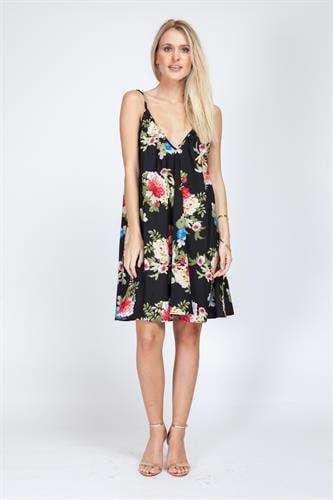 שמלת קלי שחור פרחוני