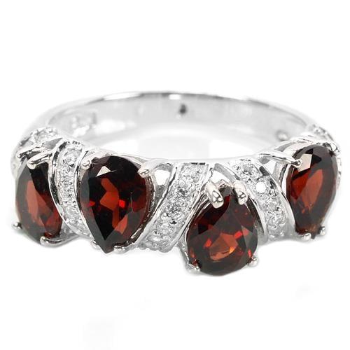 טבעת כסף משובצת גרנט אדום RG5944 | תכשיטי כסף 925