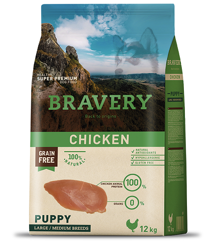 """מזון לגורים Bravery ללא דגנים 12 ק""""ג"""