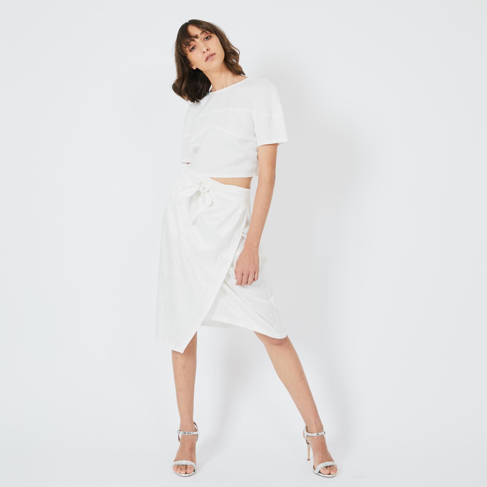 חצאית מוס פרינט לבן