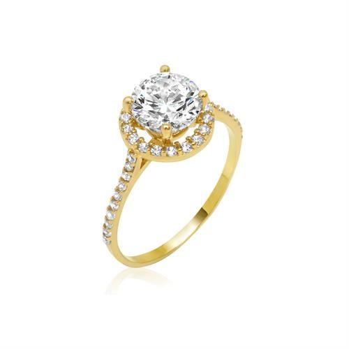 טבעת זהב עם זרקונים יפהפייה