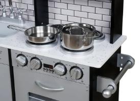 מטבח עץ אלקטרוני דגם בוסטון, בצבע אפור שחור, קפיץ קפוץ