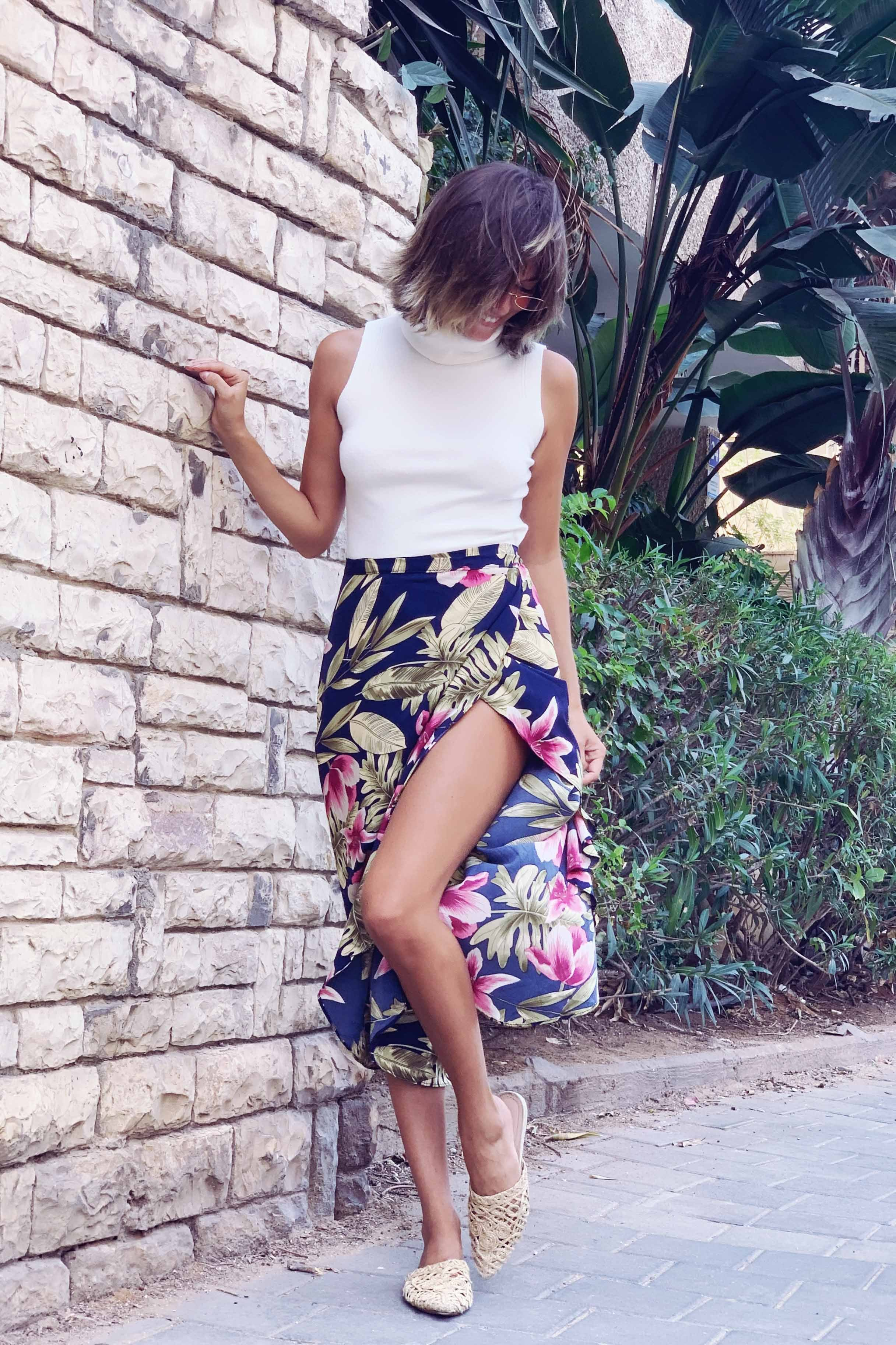 חצאית מעטפת פורטוגל עלים פרח