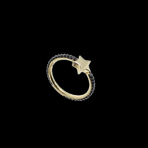 טבעת בנות זהב צהוב 14K לב מרכזי OP08150033234