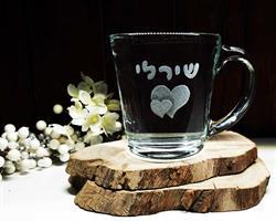 חריטה על ספל זכוכית, חריטת לב, מתנה אישית