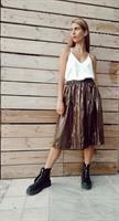 חצאית מניילון יפני - חום כהה