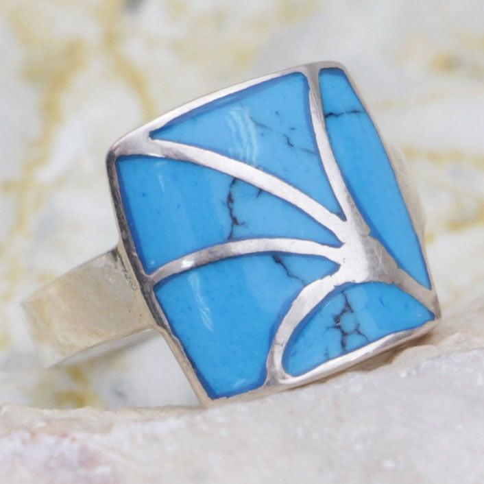 טבעת כסף ריבוע משובצת טורקיז כחול RG6647