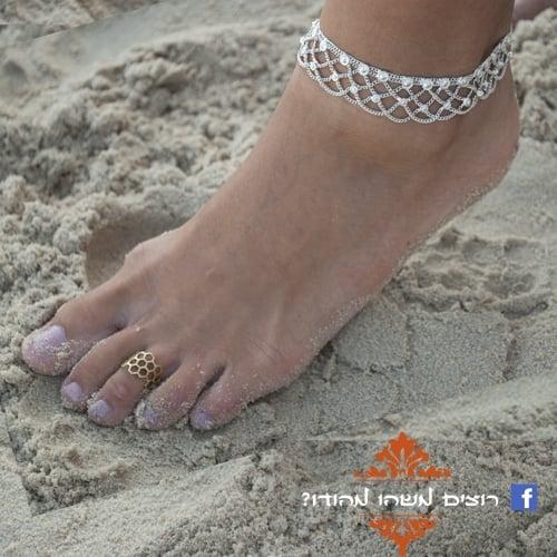 צמיד רגל הודי כסוף 3 שכבות מתכוונן