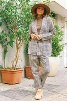 סט משבצות ג'קט + מכנסיים ארוכות